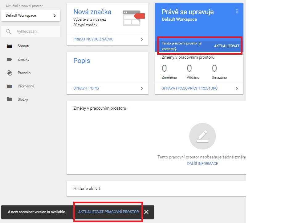 Výzva k aktualizaci workspace v Google Tag Manageru